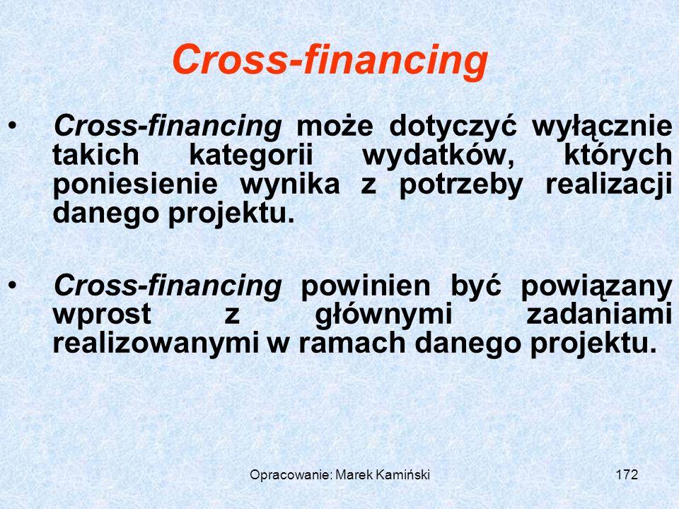 Opracowanie: Marek Kamiński172 Cross-financing Cross-financing może dotyczyć wyłącznie takich kategorii wydatków, których poniesienie wynika z potrzeby realizacji danego projektu.