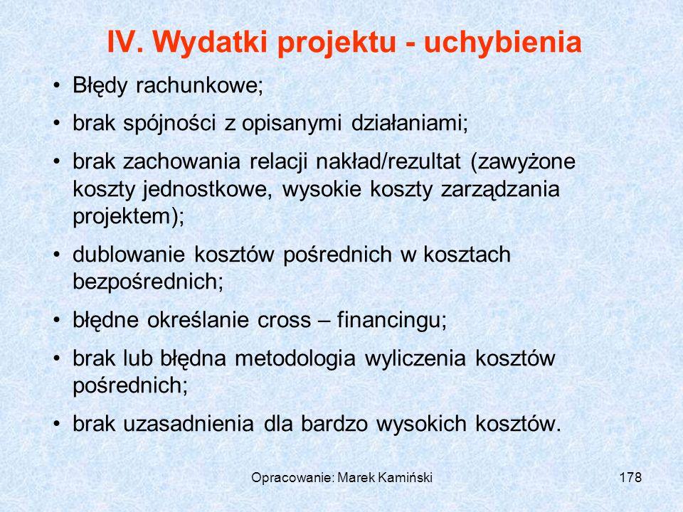 Opracowanie: Marek Kamiński178 IV.