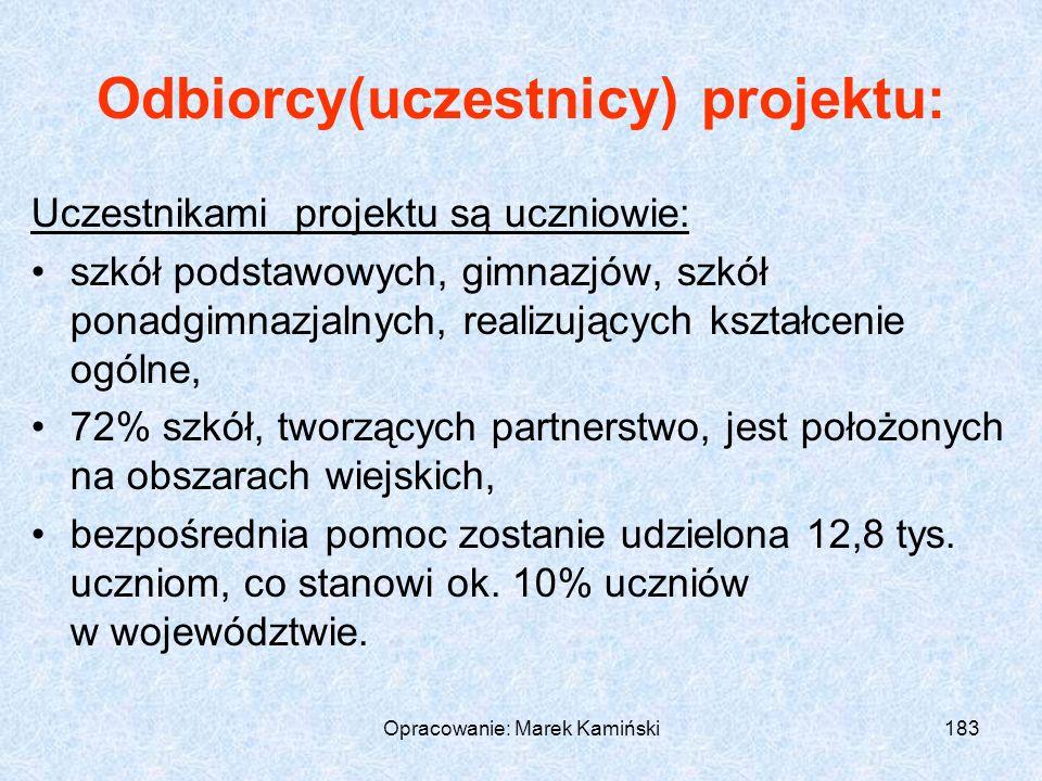 Opracowanie: Marek Kamiński183 Odbiorcy(uczestnicy) projektu: Uczestnikami projektu są uczniowie: szkół podstawowych, gimnazjów, szkół ponadgimnazjalnych, realizujących kształcenie ogólne, 72% szkół, tworzących partnerstwo, jest położonych na obszarach wiejskich, bezpośrednia pomoc zostanie udzielona 12,8 tys.