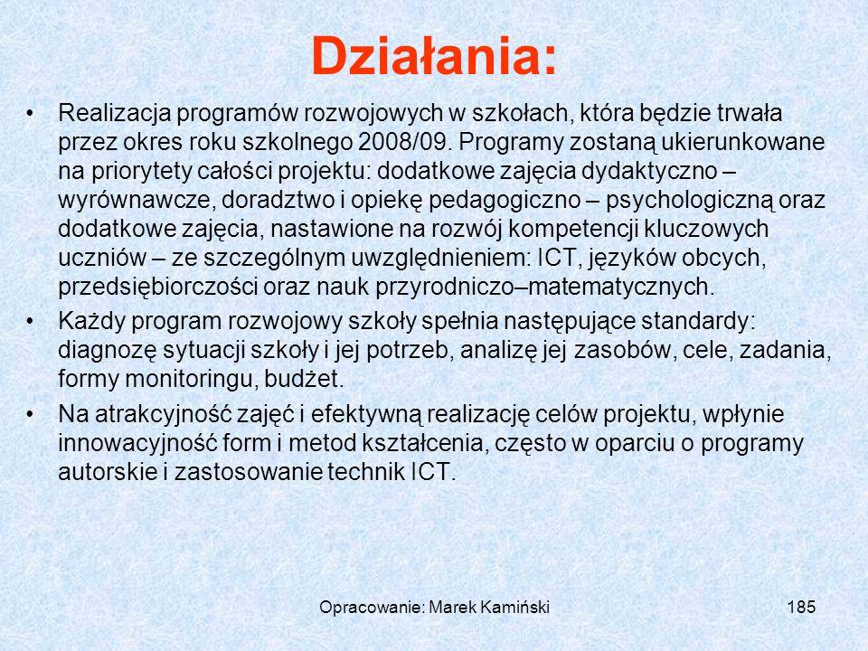 Opracowanie: Marek Kamiński185 Działania: Realizacja programów rozwojowych w szkołach, która będzie trwała przez okres roku szkolnego 2008/09.