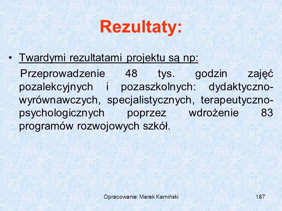 Opracowanie: Marek Kamiński187 Rezultaty: Twardymi rezultatami projektu są np: Przeprowadzenie 48 tys.