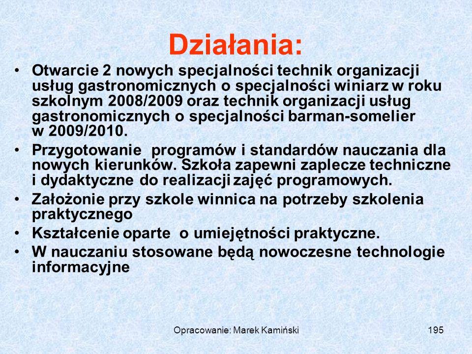 Opracowanie: Marek Kamiński195 Działania: Otwarcie 2 nowych specjalności technik organizacji usług gastronomicznych o specjalności winiarz w roku szkolnym 2008/2009 oraz technik organizacji usług gastronomicznych o specjalności barman-somelier w 2009/2010.