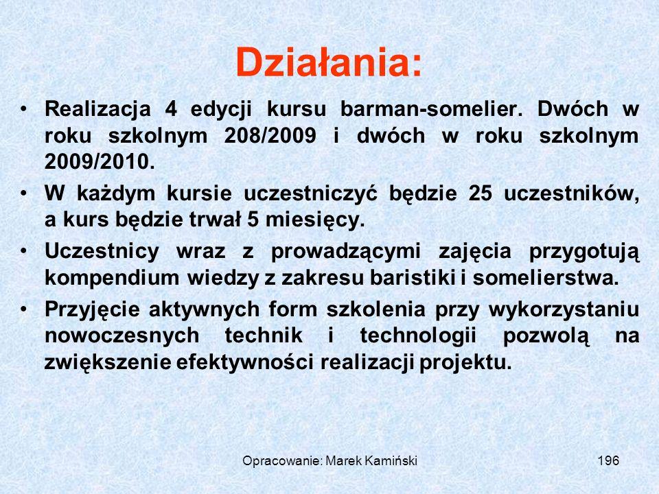 Opracowanie: Marek Kamiński196 Działania: Realizacja 4 edycji kursu barman-somelier.