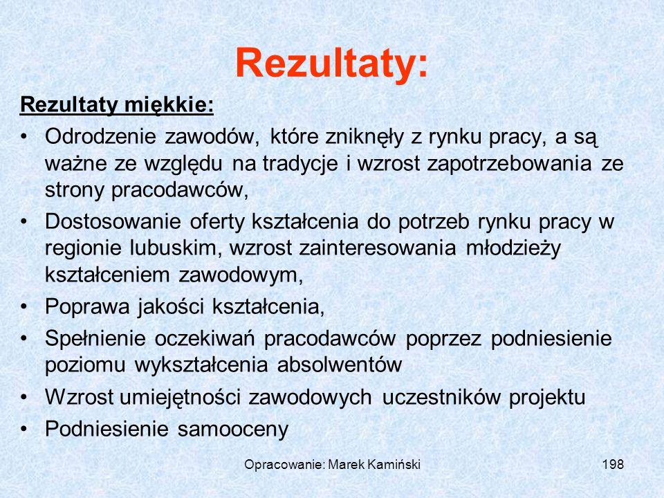 Opracowanie: Marek Kamiński198 Rezultaty: Rezultaty miękkie: Odrodzenie zawodów, które zniknęły z rynku pracy, a są ważne ze względu na tradycje i wzrost zapotrzebowania ze strony pracodawców, Dostosowanie oferty kształcenia do potrzeb rynku pracy w regionie lubuskim, wzrost zainteresowania młodzieży kształceniem zawodowym, Poprawa jakości kształcenia, Spełnienie oczekiwań pracodawców poprzez podniesienie poziomu wykształcenia absolwentów Wzrost umiejętności zawodowych uczestników projektu Podniesienie samooceny