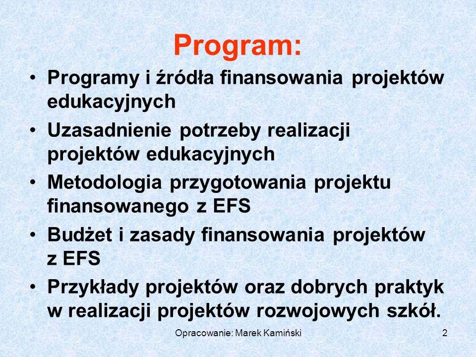 Opracowanie: Marek Kamiński2 Program: Programy i źródła finansowania projektów edukacyjnych Uzasadnienie potrzeby realizacji projektów edukacyjnych Metodologia przygotowania projektu finansowanego z EFS Budżet i zasady finansowania projektów z EFS Przykłady projektów oraz dobrych praktyk w realizacji projektów rozwojowych szkół.