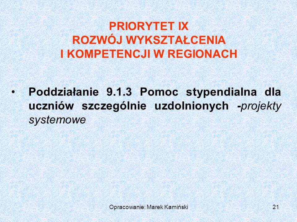 Opracowanie: Marek Kamiński21 PRIORYTET IX ROZWÓJ WYKSZTAŁCENIA I KOMPETENCJI W REGIONACH Poddziałanie 9.1.3 Pomoc stypendialna dla uczniów szczególnie uzdolnionych -projekty systemowe