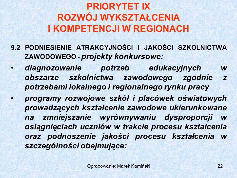 Opracowanie: Marek Kamiński22 PRIORYTET IX ROZWÓJ WYKSZTAŁCENIA I KOMPETENCJI W REGIONACH 9.2 PODNIESIENIE ATRAKCYJNOŚCI I JAKOŚCI SZKOLNICTWA ZAWODOWEGO - projekty konkursowe: diagnozowanie potrzeb edukacyjnych w obszarze szkolnictwa zawodowego zgodnie z potrzebami lokalnego i regionalnego rynku pracy programy rozwojowe szkół i placówek oświatowych prowadzących kształcenie zawodowe ukierunkowane na zmniejszanie wyrównywaniu dysproporcji w osiągnięciach uczniów w trakcie procesu kształcenia oraz podnoszenie jakości procesu kształcenia w szczególności obejmujące:
