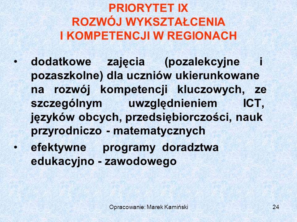 Opracowanie: Marek Kamiński24 PRIORYTET IX ROZWÓJ WYKSZTAŁCENIA I KOMPETENCJI W REGIONACH dodatkowe zajęcia (pozalekcyjne i pozaszkolne) dla uczniów ukierunkowane na rozwój kompetencji kluczowych, ze szczególnym uwzględnieniem ICT, języków obcych, przedsiębiorczości, nauk przyrodniczo - matematycznych efektywneprogramydoradztwa edukacyjno - zawodowego