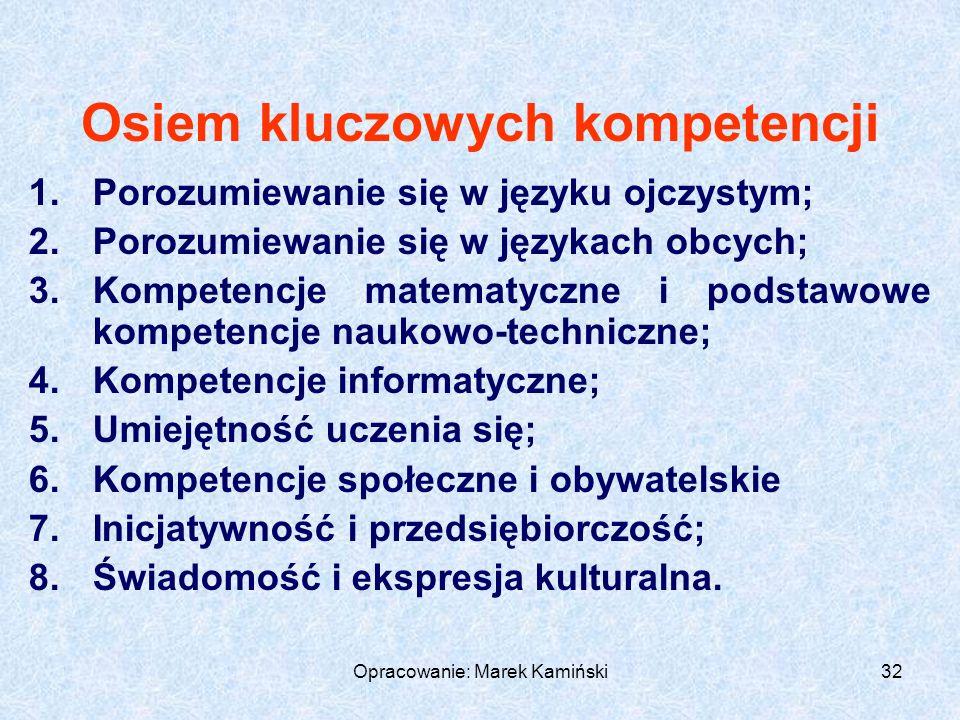 Opracowanie: Marek Kamiński32 Osiem kluczowych kompetencji 1.Porozumiewanie się w języku ojczystym; 2.Porozumiewanie się w językach obcych; 3.Kompetencje matematyczne i podstawowe kompetencje naukowo-techniczne; 4.Kompetencje informatyczne; 5.Umiejętność uczenia się; 6.Kompetencje społeczne i obywatelskie 7.Inicjatywność i przedsiębiorczość; 8.Świadomość i ekspresja kulturalna.