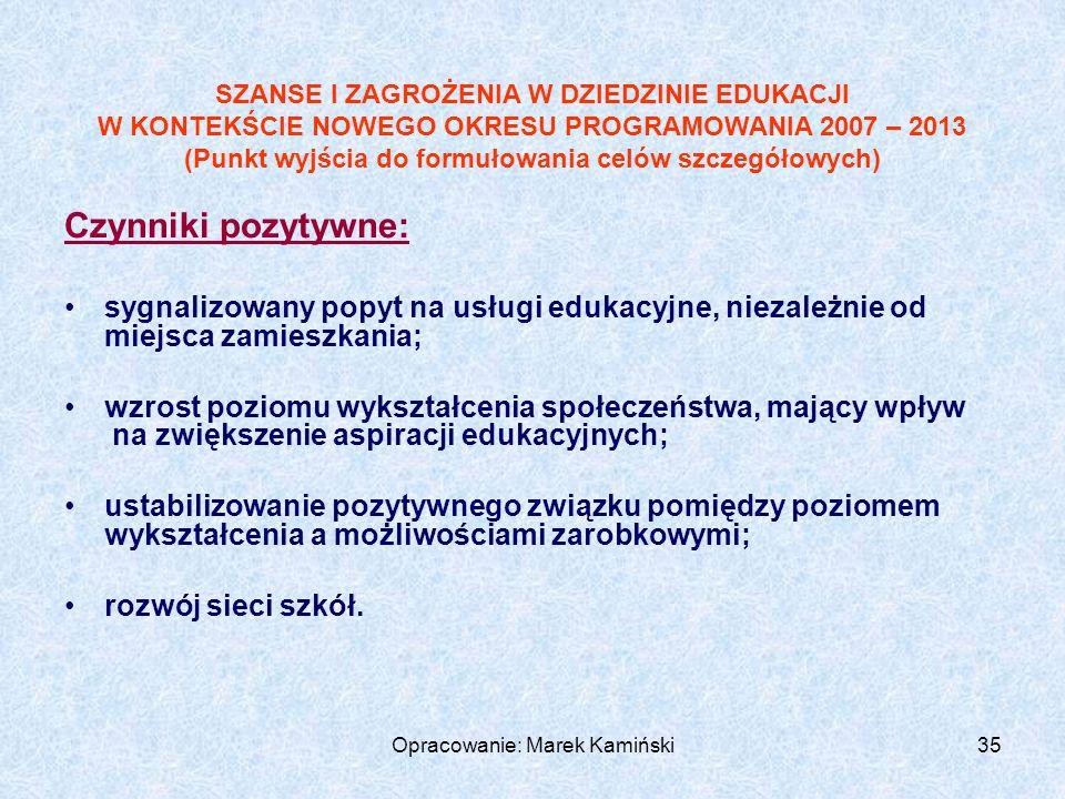 Opracowanie: Marek Kamiński35 Czynniki pozytywne: sygnalizowany popyt na usługi edukacyjne, niezależnie od miejsca zamieszkania; wzrost poziomu wykształcenia społeczeństwa, mający wpływ na zwiększenie aspiracji edukacyjnych; ustabilizowanie pozytywnego związku pomiędzy poziomem wykształcenia a możliwościami zarobkowymi; rozwój sieci szkół.