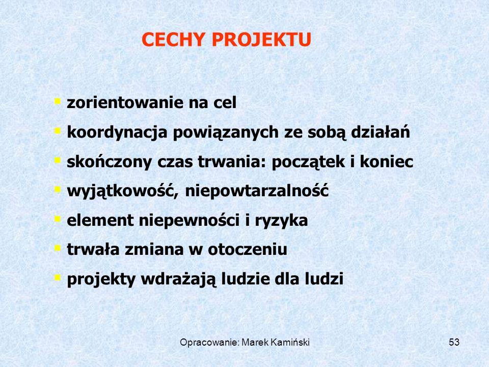 Opracowanie: Marek Kamiński53 zorientowanie na cel koordynacja powiązanych ze sobą działań skończony czas trwania: początek i koniec wyjątkowość, niepowtarzalność element niepewności i ryzyka trwała zmiana w otoczeniu projekty wdrażają ludzie dla ludzi CECHY PROJEKTU