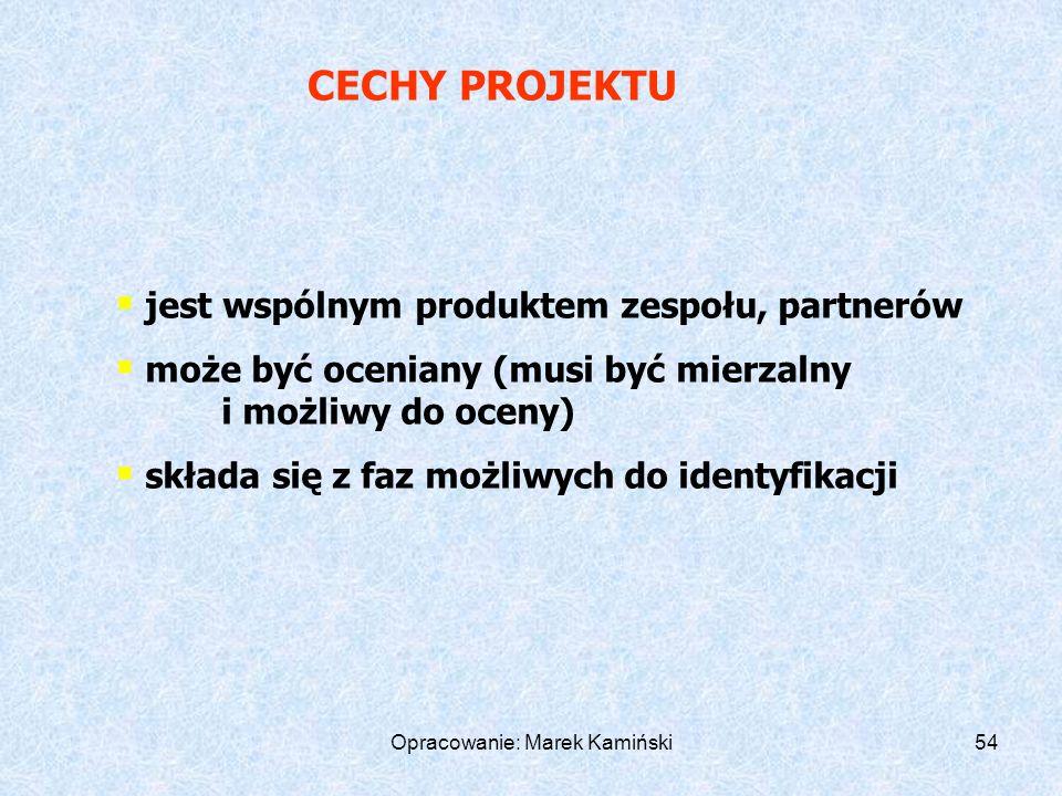 Opracowanie: Marek Kamiński54 jest wspólnym produktem zespołu, partnerów może być oceniany (musi być mierzalny i możliwy do oceny) składa się z faz możliwych do identyfikacji CECHY PROJEKTU