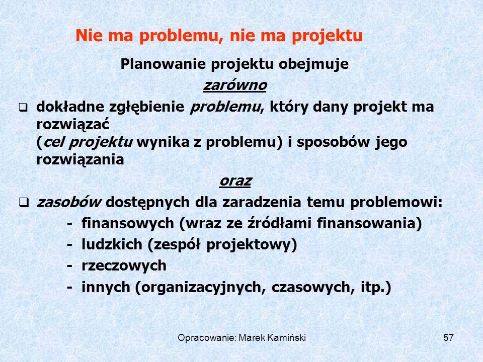 Opracowanie: Marek Kamiński57 Nie ma problemu, nie ma projektu Planowanie projektu obejmuje zarówno dokładne zgłębienie problemu, który dany projekt ma rozwiązać (cel projektu wynika z problemu) i sposobów jego rozwiązania oraz zasobów dostępnych dla zaradzenia temu problemowi: - finansowych (wraz ze źródłami finansowania) - ludzkich (zespół projektowy) - rzeczowych - innych (organizacyjnych, czasowych, itp.)