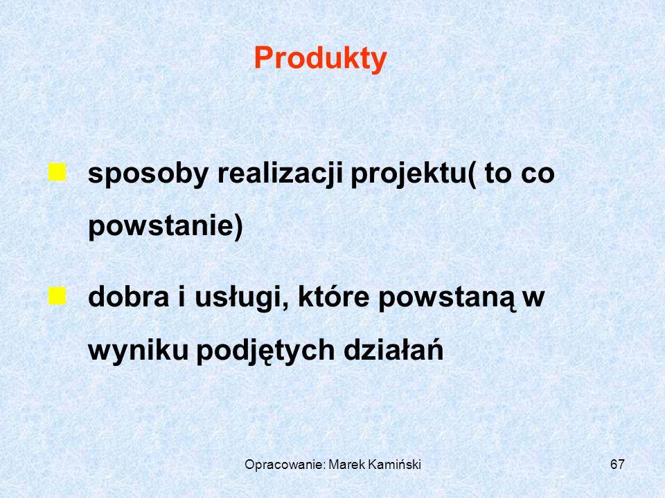 Opracowanie: Marek Kamiński67 Produkty sposoby realizacji projektu( to co powstanie) dobra i usługi, które powstaną w wyniku podjętych działań