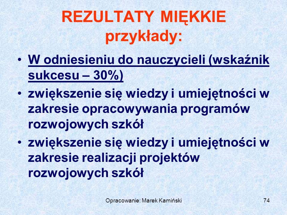 Opracowanie: Marek Kamiński74 REZULTATY MIĘKKIE przykłady: W odniesieniu do nauczycieli (wskaźnik sukcesu – 30%) zwiększenie się wiedzy i umiejętności w zakresie opracowywania programów rozwojowych szkół zwiększenie się wiedzy i umiejętności w zakresie realizacji projektów rozwojowych szkół