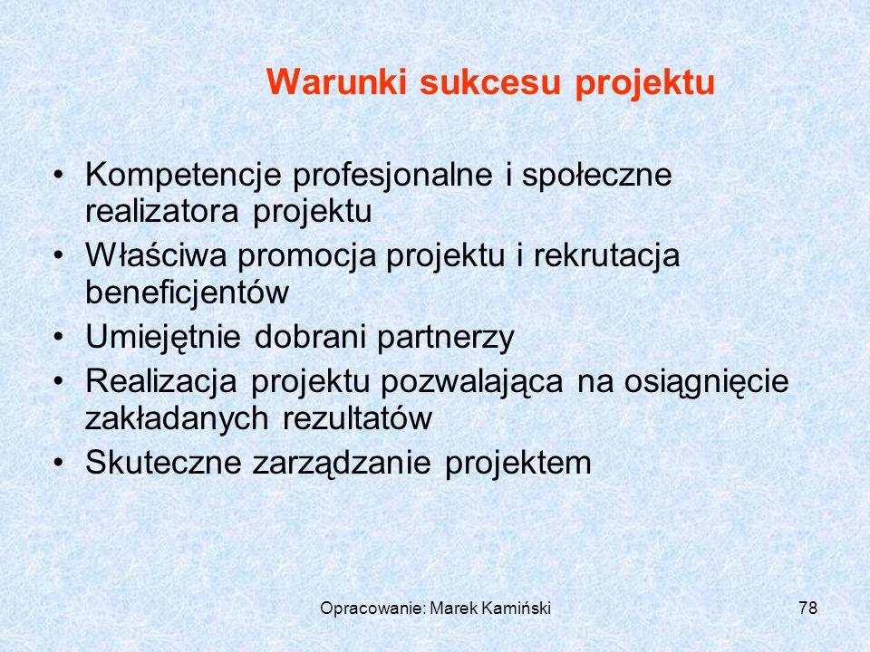 Opracowanie: Marek Kamiński78 Warunki sukcesu projektu Kompetencje profesjonalne i społeczne realizatora projektu Właściwa promocja projektu i rekrutacja beneficjentów Umiejętnie dobrani partnerzy Realizacja projektu pozwalająca na osiągnięcie zakładanych rezultatów Skuteczne zarządzanie projektem
