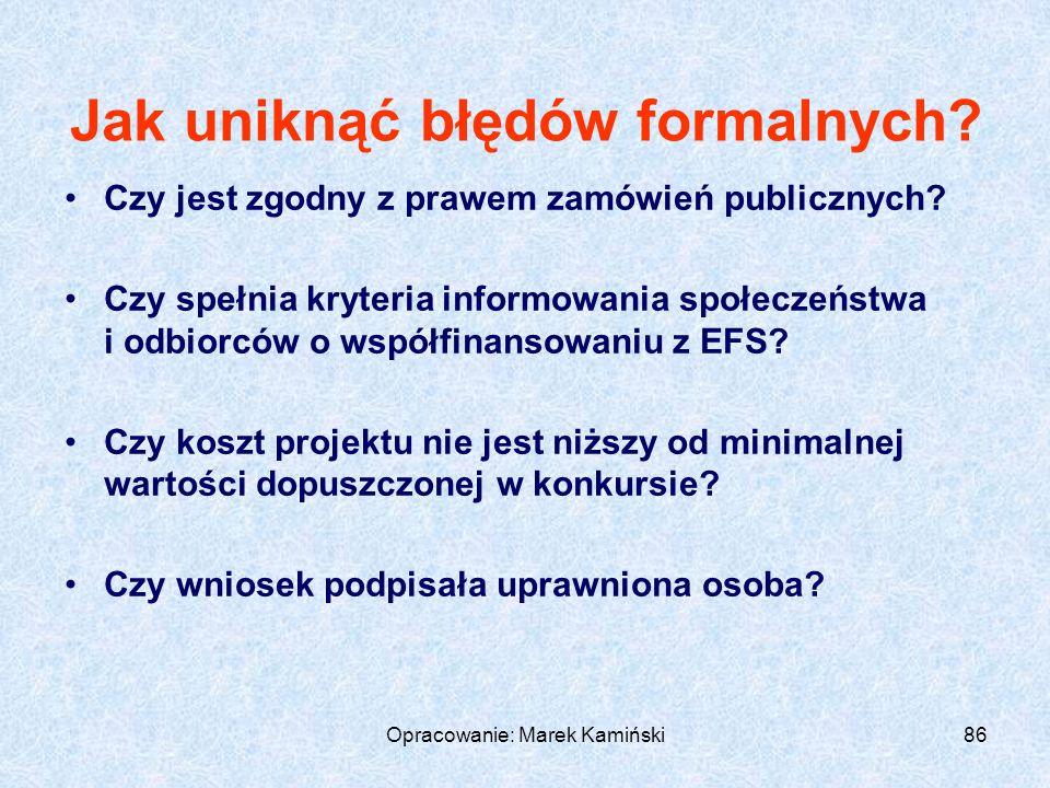 Opracowanie: Marek Kamiński86 Jak uniknąć błędów formalnych.