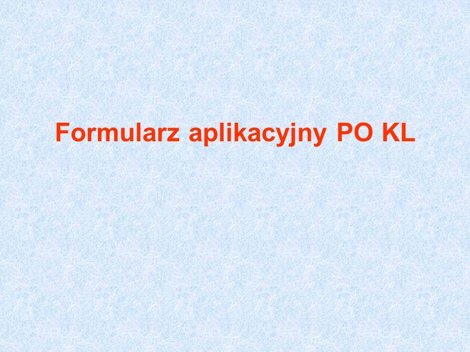 Formularz aplikacyjny PO KL