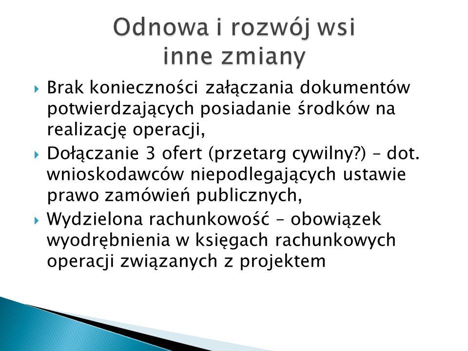 Brak konieczności załączania dokumentów potwierdzających posiadanie środków na realizację operacji, Dołączanie 3 ofert (przetarg cywilny?) – dot. wnio