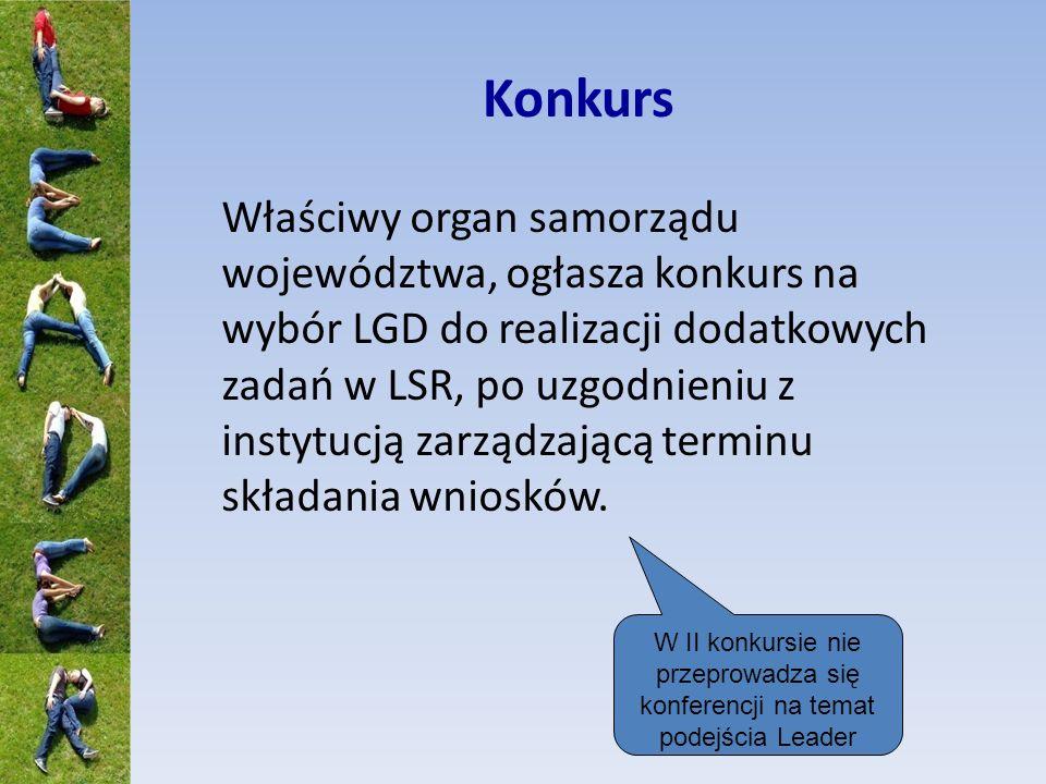 Konkurs Właściwy organ samorządu województwa, ogłasza konkurs na wybór LGD do realizacji dodatkowych zadań w LSR, po uzgodnieniu z instytucją zarządzającą terminu składania wniosków.