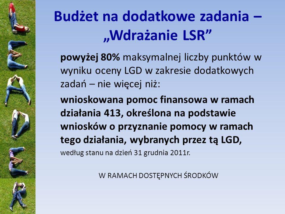 Budżet na dodatkowe zadania – Wdrażanie LSR powyżej 80% maksymalnej liczby punktów w wyniku oceny LGD w zakresie dodatkowych zadań – nie więcej niż: wnioskowana pomoc finansowa w ramach działania 413, określona na podstawie wniosków o przyznanie pomocy w ramach tego działania, wybranych przez tą LGD, według stanu na dzień 31 grudnia 2011r.