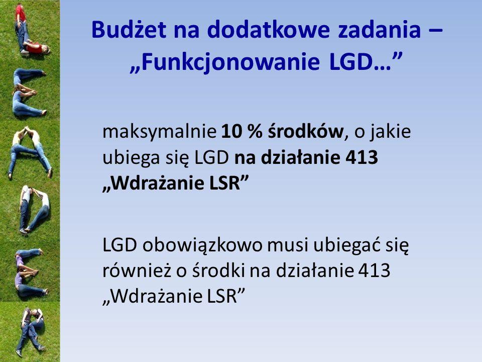 Budżet na dodatkowe zadania – Funkcjonowanie LGD… maksymalnie 10 % środków, o jakie ubiega się LGD na działanie 413 Wdrażanie LSR LGD obowiązkowo musi ubiegać się również o środki na działanie 413 Wdrażanie LSR