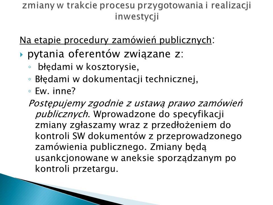 Na etapie procedury zamówień publicznych : pytania oferentów związane z: błędami w kosztorysie, Błędami w dokumentacji technicznej, Ew. inne? Postępuj