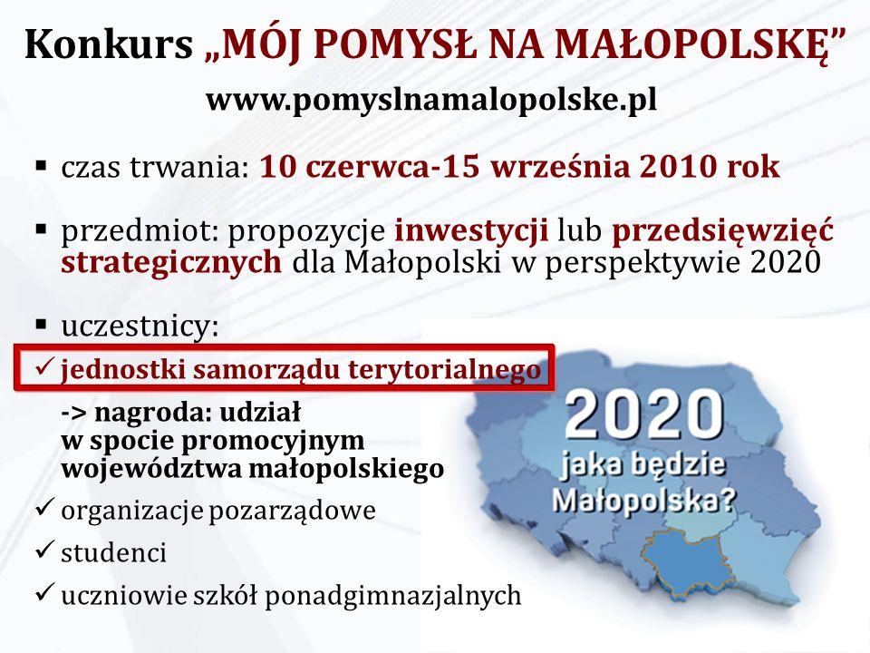 Konkurs MÓJ POMYSŁ NA MAŁOPOLSKĘ czas trwania: 10 czerwca-15 września 2010 rok przedmiot: propozycje inwestycji lub przedsięwzięć strategicznych dla M