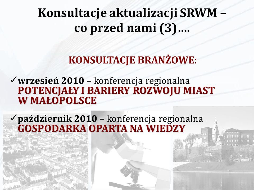 KONSULTACJE BRANŻOWE: POTENCJAŁY I BARIERY ROZWOJU MIAST W MAŁOPOLSCE wrzesień 2010 – konferencja regionalna POTENCJAŁY I BARIERY ROZWOJU MIAST W MAŁO