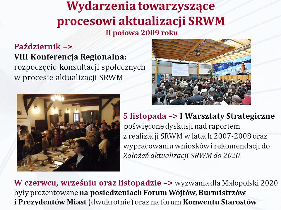 17 lutego 2010 –> Prezentacja raportu Analiza i ocena sytuacji województwa małopolskiego jako podmiotu transferów środków publicznych oraz prognoza finansowa dla regionu na lata 2010-2015– dyskusja nad miejscem samorządu w systemie finansów publicznych 9 lutego 2010 –> spotkanie konsultacyjne z udziałem przedstawicieli firm energetycznych poświęcone założeniom opracowania dotyczącego bilansu energetycznego województwa Wydarzenia towarzyszące procesowi aktualizacji SRWM luty 2010