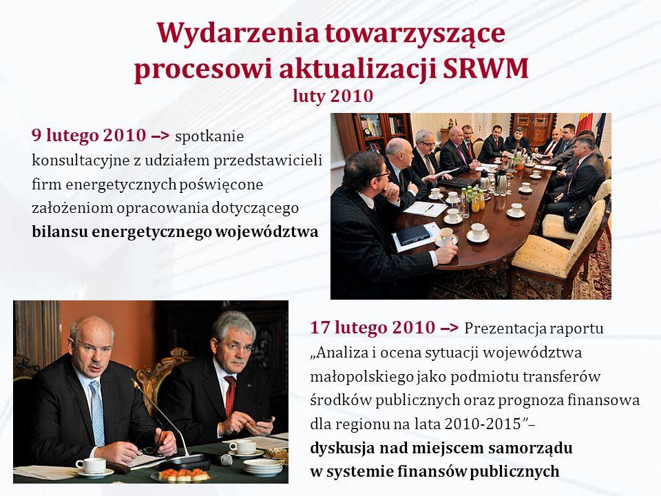 17 lutego 2010 –> Prezentacja raportu Analiza i ocena sytuacji województwa małopolskiego jako podmiotu transferów środków publicznych oraz prognoza fi
