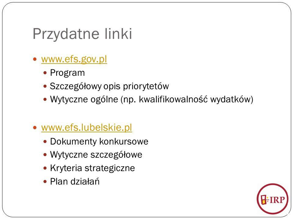 Przydatne linki www.efs.gov.pl Program Szczegółowy opis priorytetów Wytyczne ogólne (np.