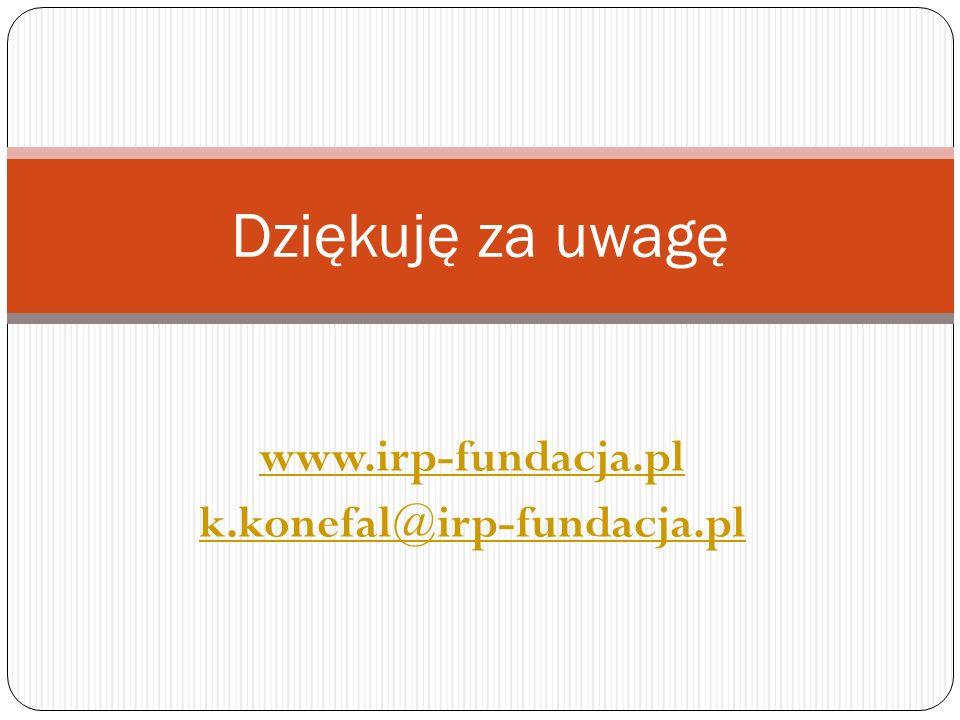 Dziękuję za uwagę www.irp-fundacja.pl k.konefal@irp-fundacja.pl