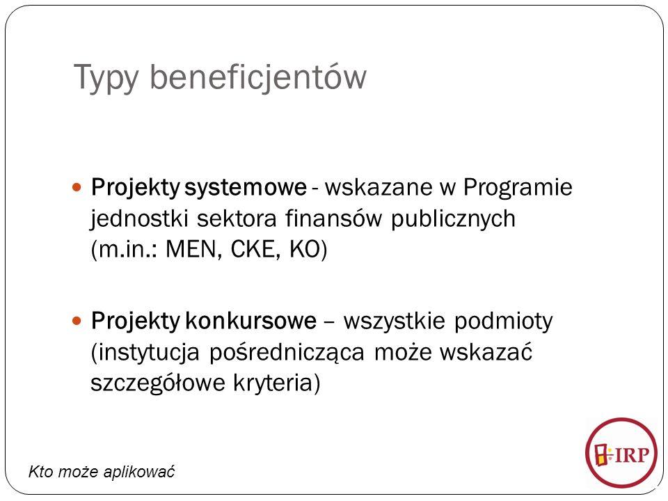 Typy beneficjentów Projekty systemowe - wskazane w Programie jednostki sektora finansów publicznych (m.in.: MEN, CKE, KO) Projekty konkursowe – wszystkie podmioty (instytucja pośrednicząca może wskazać szczegółowe kryteria) Kto może aplikować