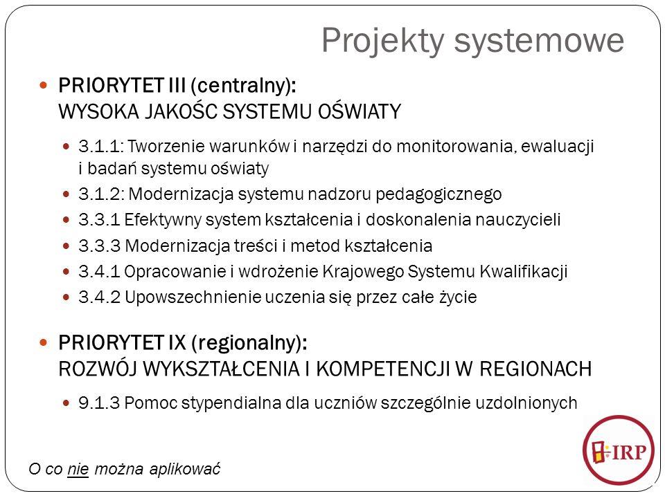 Projekty systemowe PRIORYTET III (centralny): WYSOKA JAKOŚC SYSTEMU OŚWIATY 3.1.1: Tworzenie warunków i narzędzi do monitorowania, ewaluacji i badań systemu oświaty 3.1.2: Modernizacja systemu nadzoru pedagogicznego 3.3.1 Efektywny system kształcenia i doskonalenia nauczycieli 3.3.3 Modernizacja treści i metod kształcenia 3.4.1 Opracowanie i wdrożenie Krajowego Systemu Kwalifikacji 3.4.2 Upowszechnienie uczenia się przez całe życie PRIORYTET IX (regionalny): ROZWÓJ WYKSZTAŁCENIA I KOMPETENCJI W REGIONACH 9.1.3 Pomoc stypendialna dla uczniów szczególnie uzdolnionych O co nie można aplikować