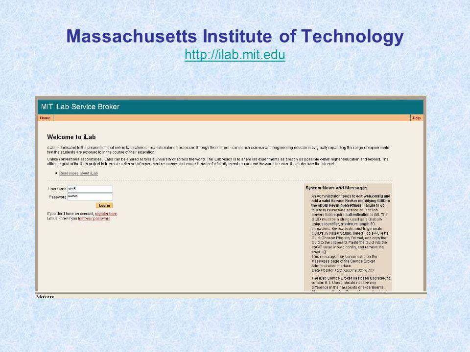 Massachusetts Institute of Technology http://ilab.mit.edu http://ilab.mit.edu