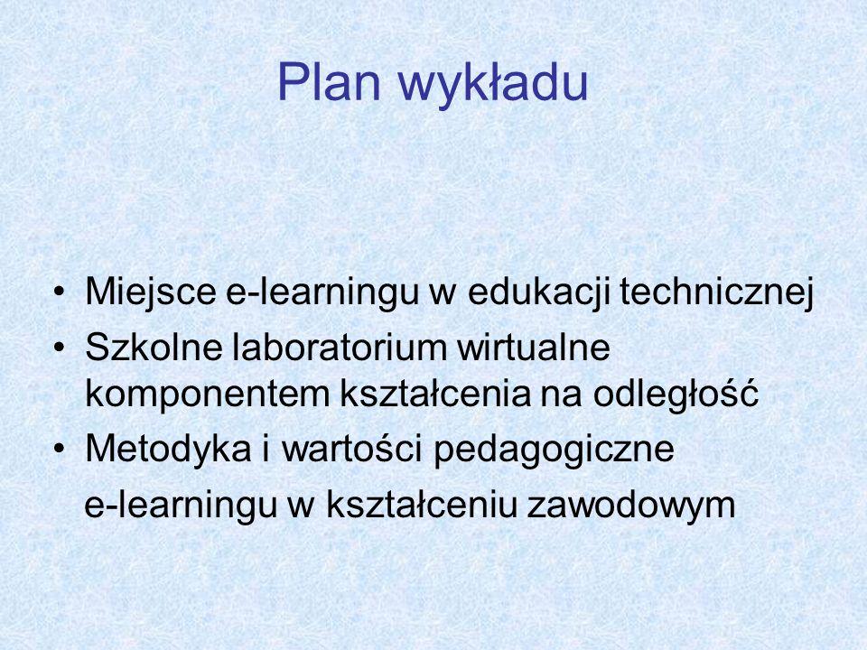 Plan wykładu Miejsce e-learningu w edukacji technicznej Szkolne laboratorium wirtualne komponentem kształcenia na odległość Metodyka i wartości pedago