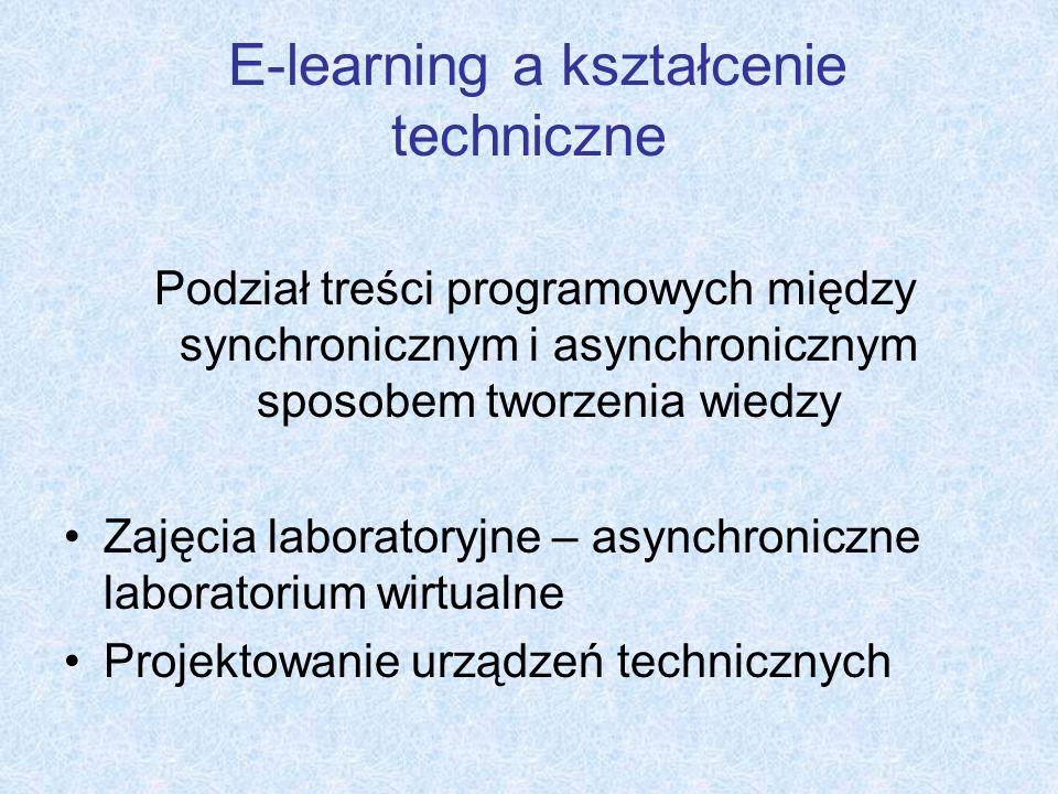 E-learning a kształcenie techniczne Podział treści programowych między synchronicznym i asynchronicznym sposobem tworzenia wiedzy Zajęcia laboratoryjn