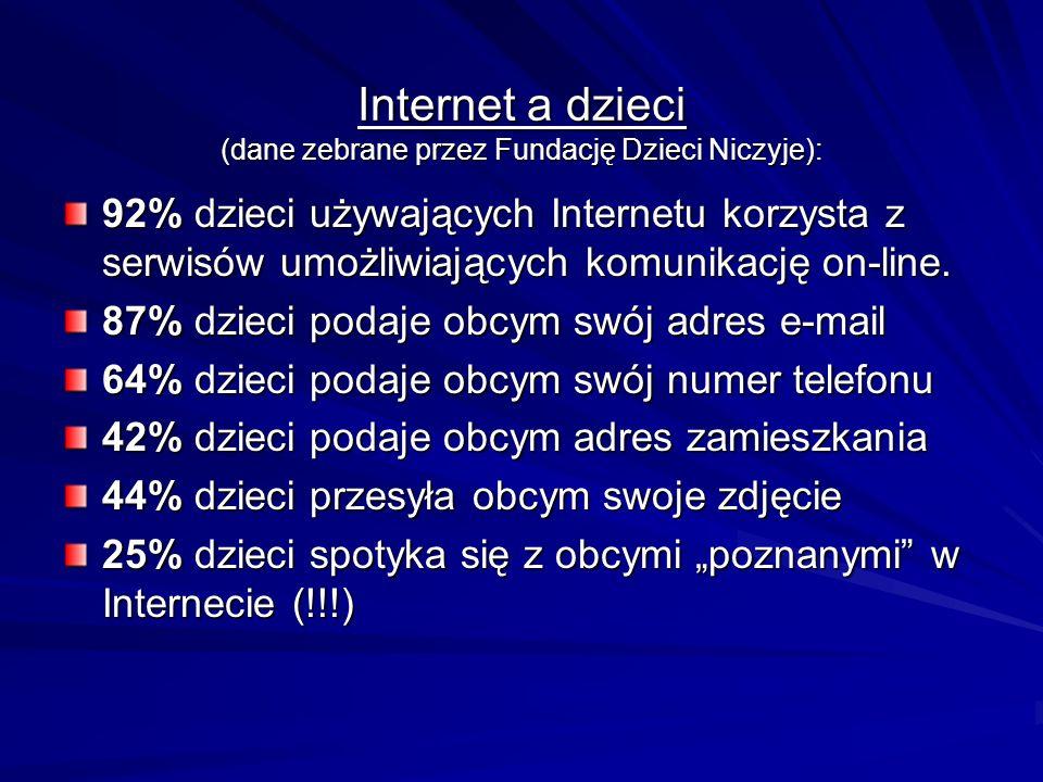 Internet a dzieci (dane zebrane przez Fundację Dzieci Niczyje): 92% dzieci używających Internetu korzysta z serwisów umożliwiających komunikację on-li