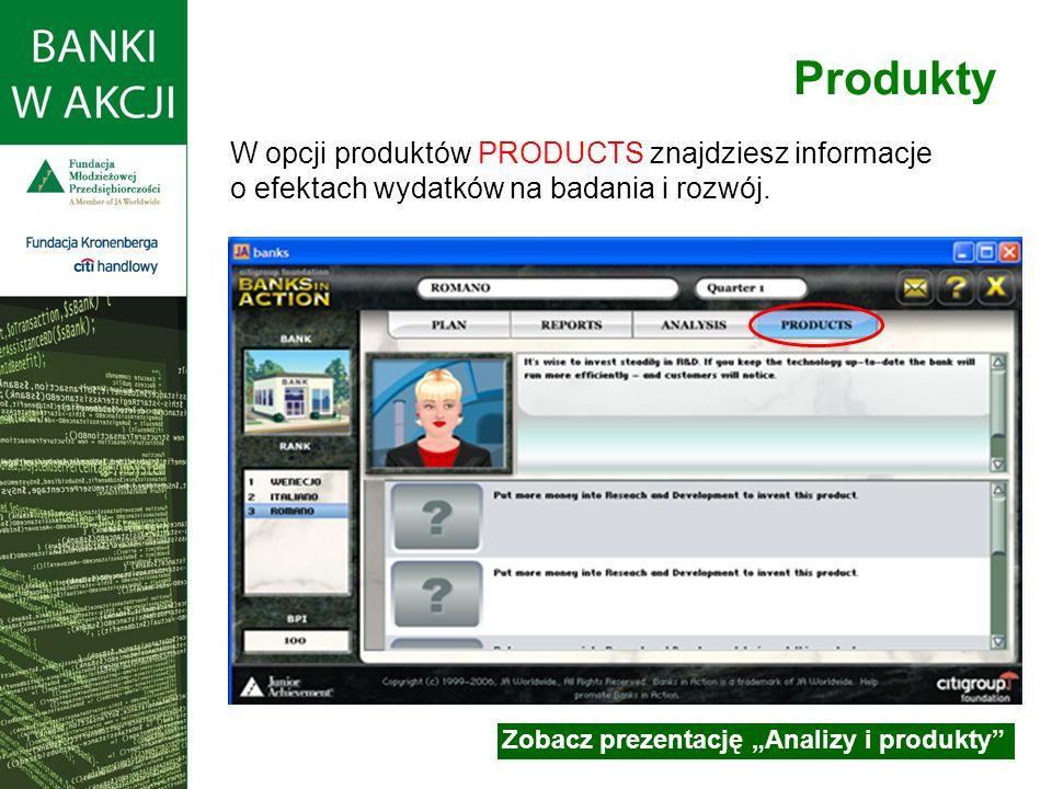 W opcji produktów PRODUCTS znajdziesz informacje o efektach wydatków na badania i rozwój.