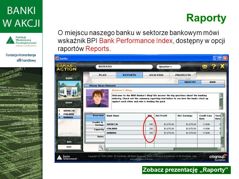 O miejscu naszego banku w sektorze bankowym mówi wskaźnik BPI Bank Performance Index, dostępny w opcji raportów Reports.