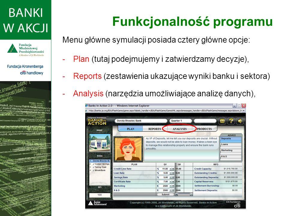 Menu główne symulacji posiada cztery główne opcje: -Plan (tutaj podejmujemy i zatwierdzamy decyzje), -Reports (zestawienia ukazujące wyniki banku i sektora) -Analysis (narzędzia umożliwiające analizę danych), Funkcjonalność programu