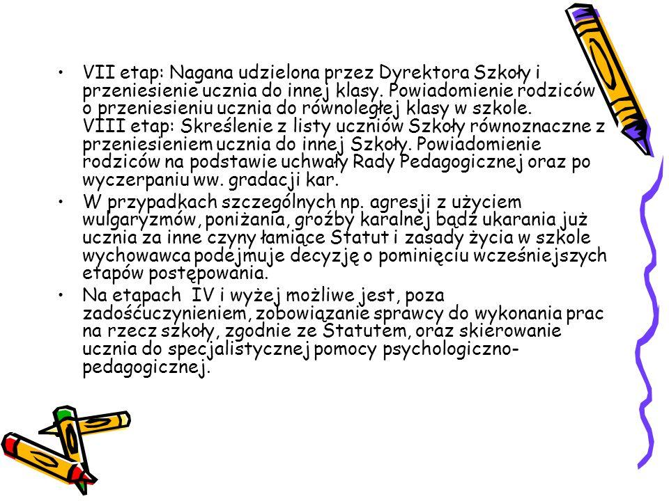 PROCEDURA POSTĘPOWANIA W PRZYPADKU ZACHOWAŃ AGRESYWNYCH UCZNIA (wybrane zagadnienia) I etap: Upomnienie ucznia wobec klasy przez wychowawcę. II etap: