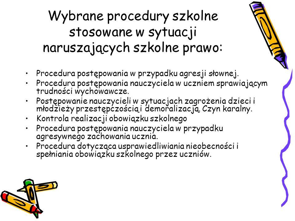 Wybrane procedury szkolne stosowane w sytuacji naruszających szkolne prawo: Procedura postępowania w przypadku agresji słownej.