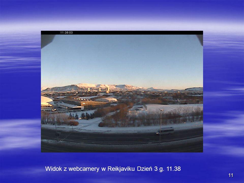 11 Widok z webcamery w Reikjaviku Dzień 3 g. 11.38