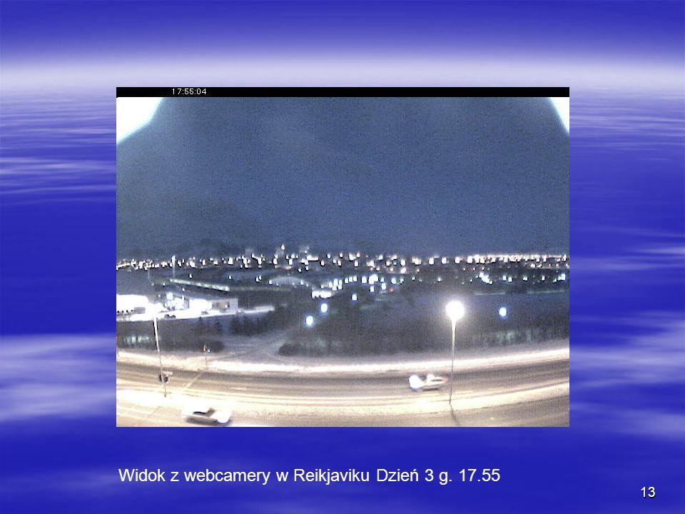 13 Widok z webcamery w Reikjaviku Dzień 3 g. 17.55
