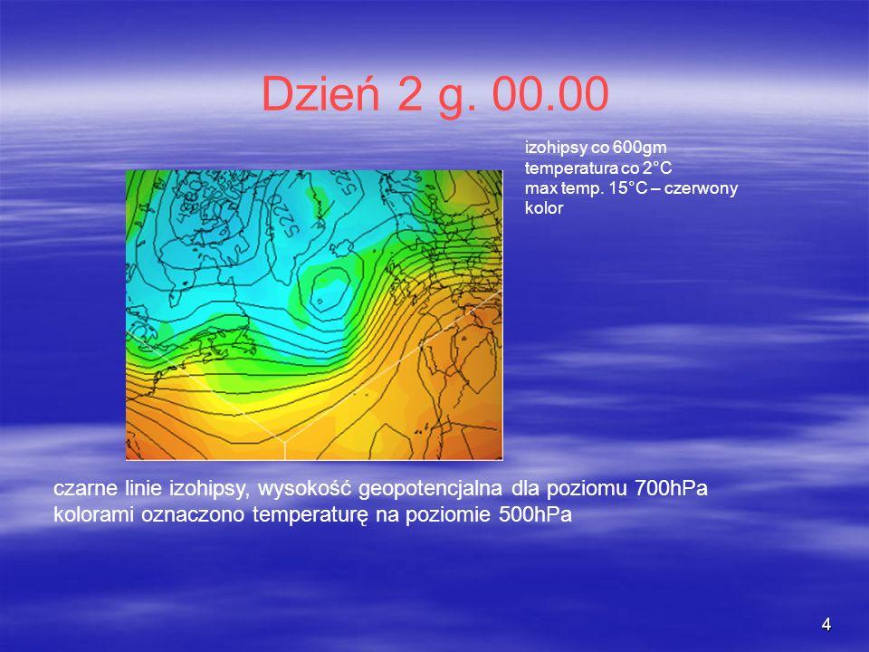 4 Dzień 2 g. 00.00 czarne linie izohipsy, wysokość geopotencjalna dla poziomu 700hPa kolorami oznaczono temperaturę na poziomie 500hPa izohipsy co 600