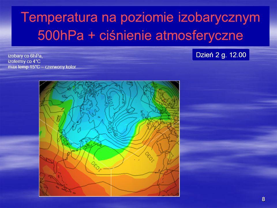 8 Temperatura na poziomie izobarycznym 500hPa + ciśnienie atmosferyczne izobary co 6hPa, izotermy co 4°C max temp 15°C – czerwony kolor Dzień 1 g. 12.