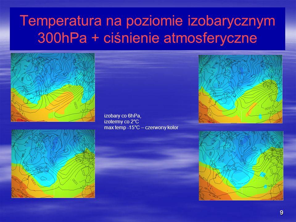 9 Temperatura na poziomie izobarycznym 300hPa + ciśnienie atmosferyczne izobary co 6hPa, izotermy co 2°C max temp -15°C – czerwony kolor
