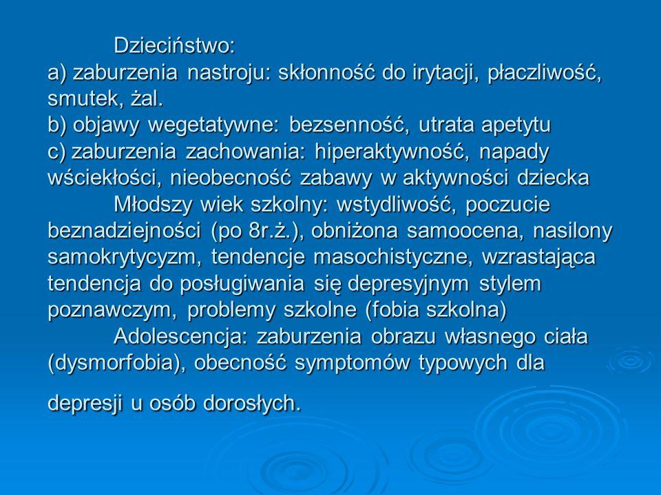 Dzieciństwo: a) zaburzenia nastroju: skłonność do irytacji, płaczliwość, smutek, żal. b) objawy wegetatywne: bezsenność, utrata apetytu c) zaburzenia